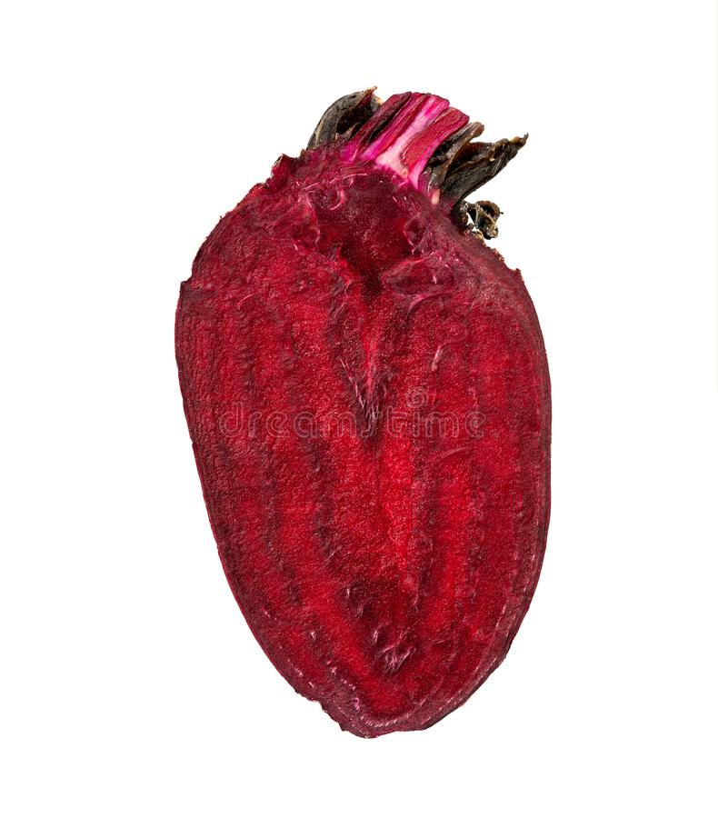 Half of fresh ripe Beet cut in shape of heart muscle myocard. Healthy vegetable concept. Food red raw beetroot isolated vegetarian ingredient white slice purple stock photography