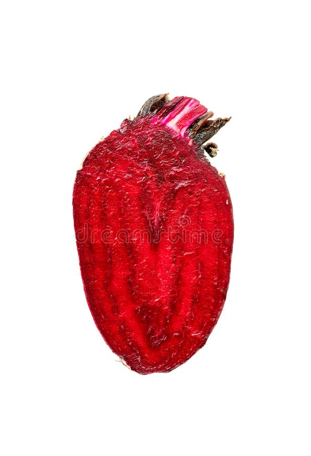 Half of fresh ripe Beet cut in shape of heart muscle myocard. Healthy vegetable concept. Food red raw beetroot isolated vegetarian ingredient white slice purple stock photos