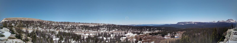 Half Frozen Uinta Mountain Landscape Pano. The half frozen landscape of the Uinta Mountain Wilderness in Utah Panorama stock image