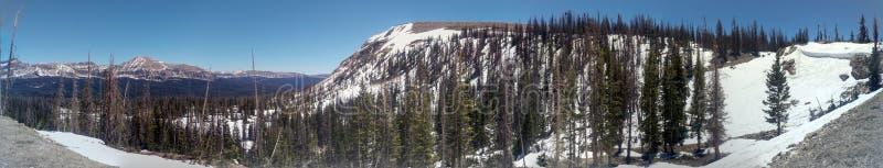 Half Frozen Uinta Mountain Landscape Pano. The half frozen landscape of the Uinta Mountain Wilderness in Utah Panorama stock photography