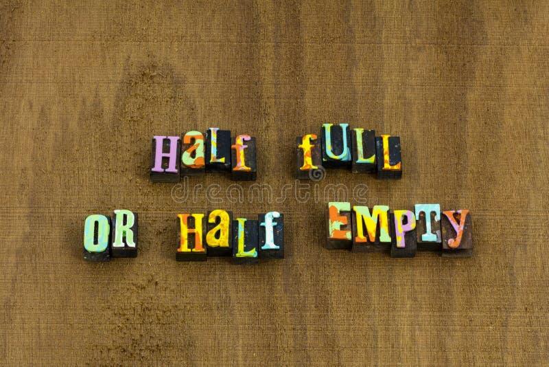 Half full empty optimism positive attitude phrase happy stock photography