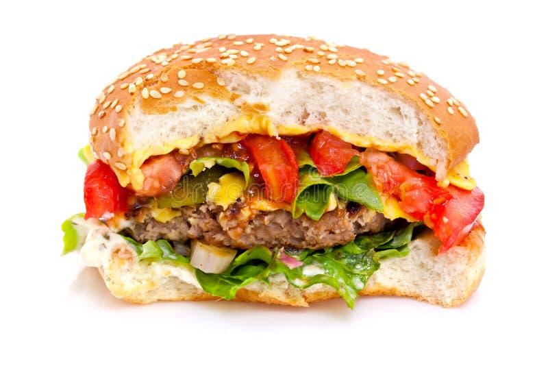 Half gegeten hamburger royalty-vrije stock foto