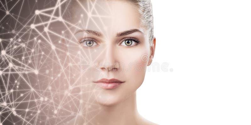 Half gezicht die van jonge vrouw in sterrige virtuele ruimte verdwijnen royalty-vrije stock fotografie