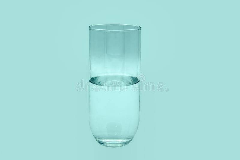 Half a glass of pure water stock photography