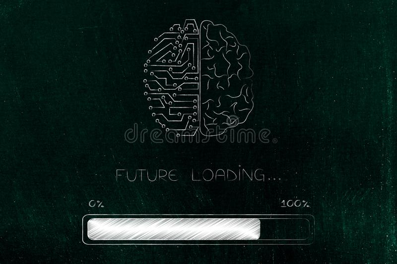 Half human half circuit brain with progress bar and Future loading text stock illustration