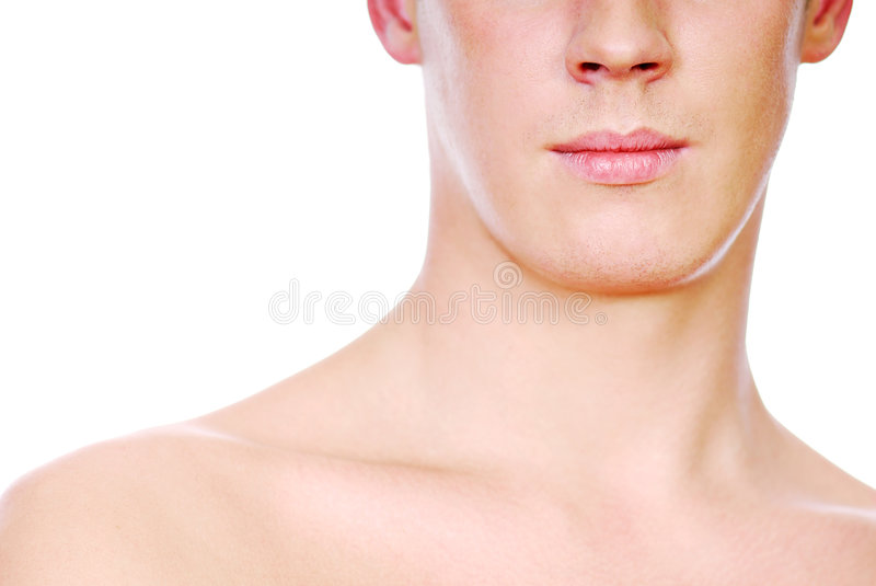 Half human male face royalty free stock image