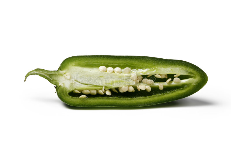 Half Jalapeno. Jalapeno cut in half and isolated on white background royalty free stock photos