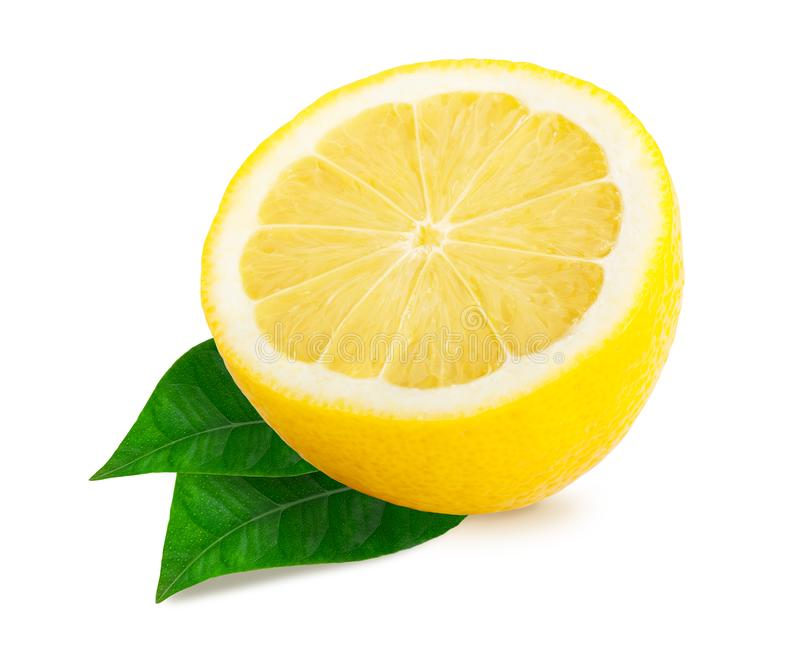 Half lemon citrus fruit isolated stock image