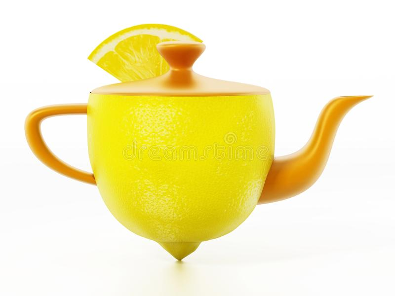 Half lemon combined with teapot with a slice of lemon. 3D illustration.  royalty free illustration