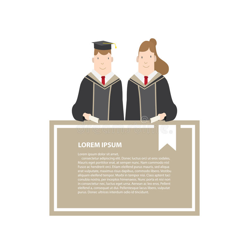 Half-length cartoon character, male and female students in academic gown message box frame vector. Education Graduation Character. Illustration vector Half stock illustration