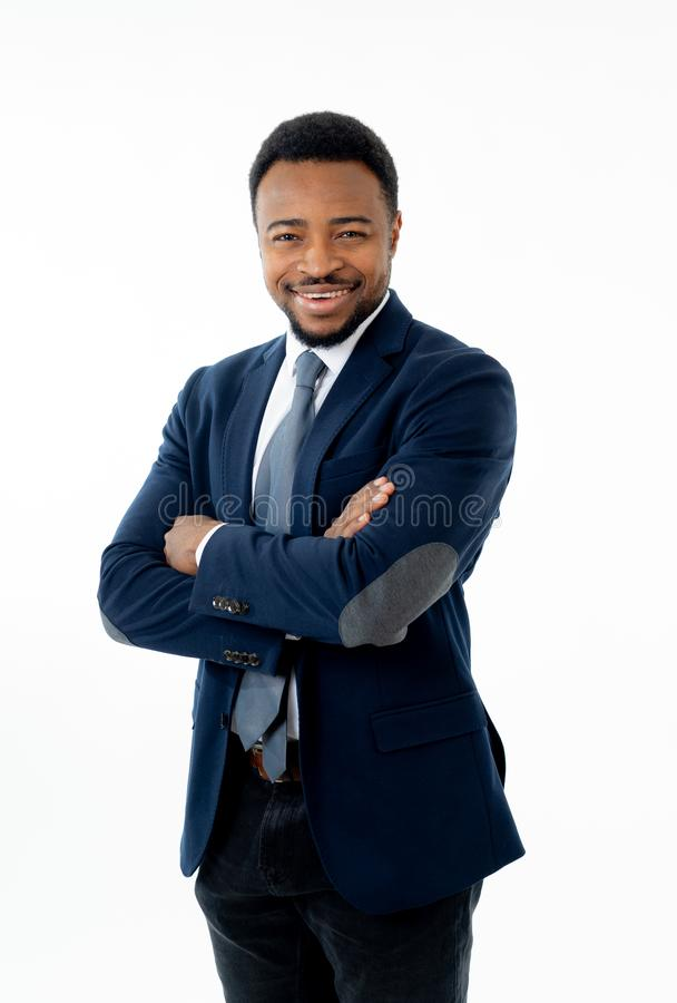 Half-length portrait of an attractive stylish and successful businessman smiling stock photography