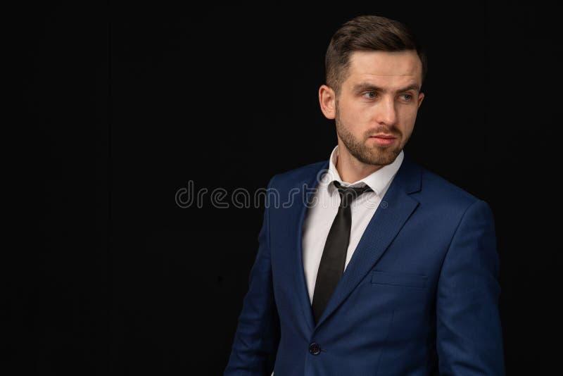 Half length portrait of business man looking away stock photo