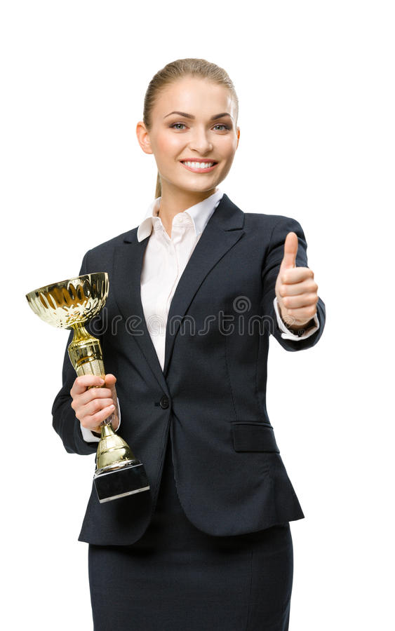 Half-length portrait of business woman keeping cup stock photos