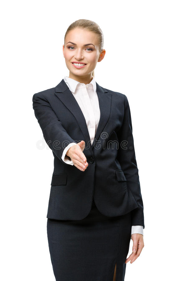 Half-length portrait of female manager handshake gesturing stock photo