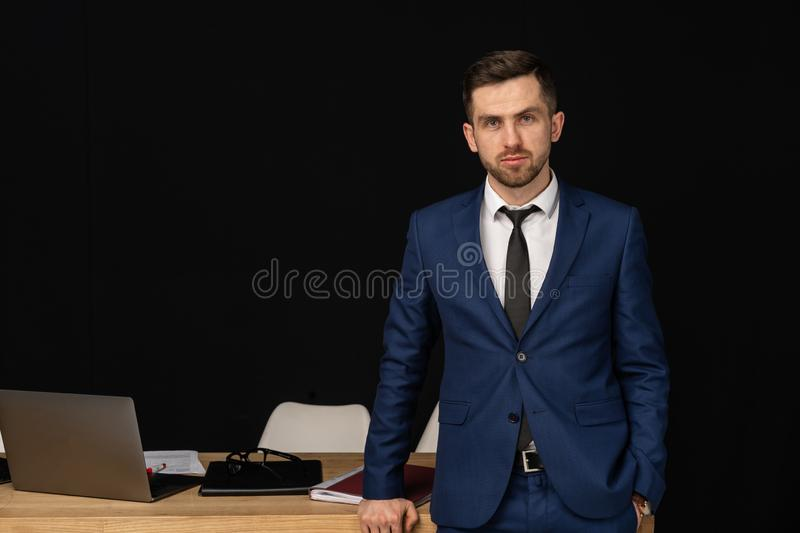 Half length portrait of middle aged successful business man stock photography
