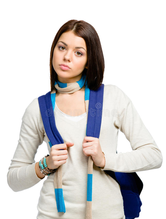 Half-length portrait of teenager with blue rucksack stock image
