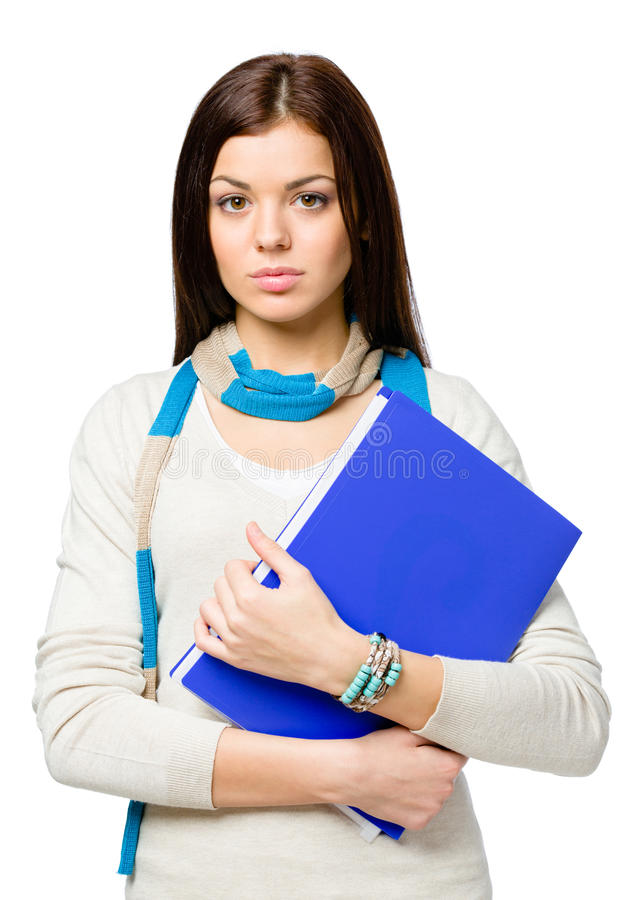 Half-length Portrait Of Teenager With Folder Royalty Free Stock Photo