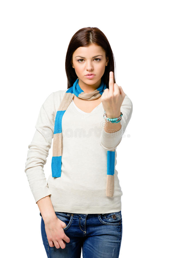 Half-length Portrait Of Teenager With Obscene Gesture Royalty Free Stock Photos