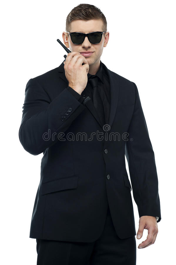 Half length portrait of young security officer stock photography