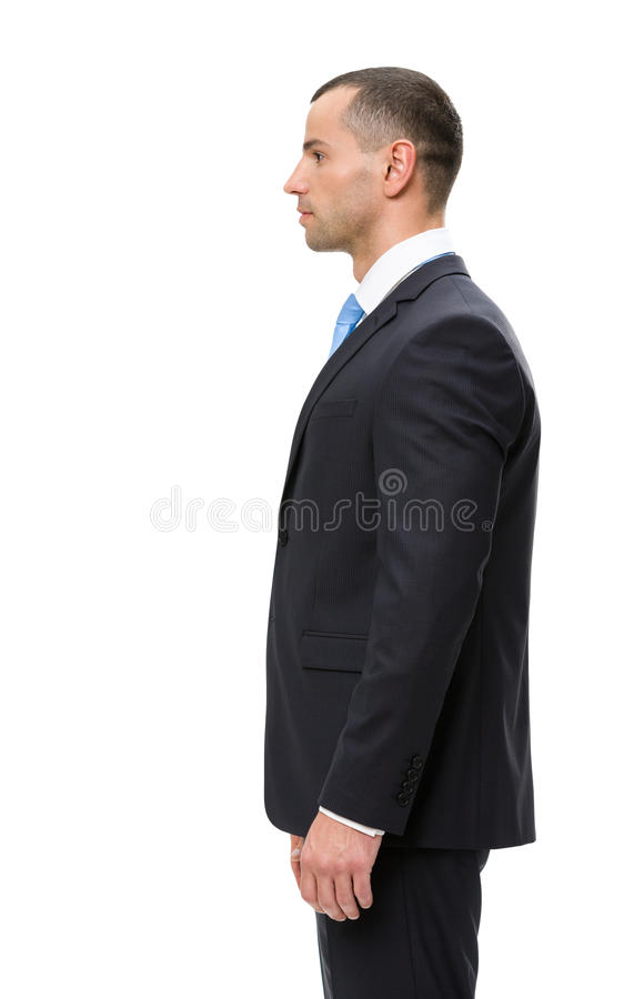 Half-length profile of business man. Isolated on white. Concept of leadership and success stock photography