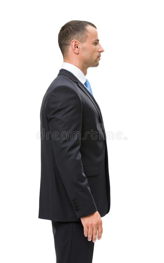 Half-length profile of businessman. Isolated on white. Concept of leadership and success royalty free stock photography