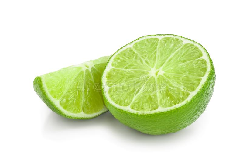 Half lime isolated on white background closeup.  royalty free stock images