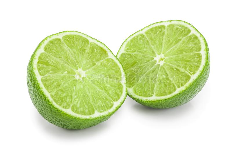 Half lime isolated on white background closeup.  stock images