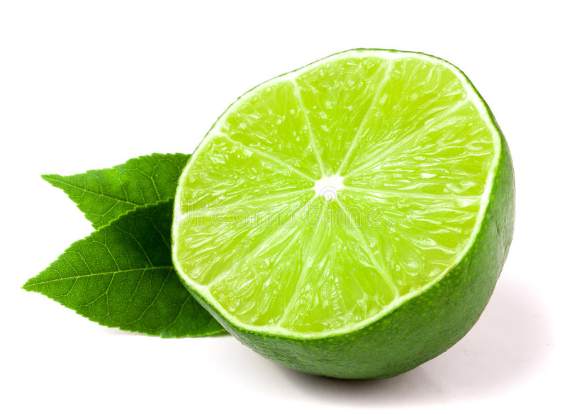 Download Half A Lime With Leaves Isolated On White Background Stock Photo - Image: 83718879