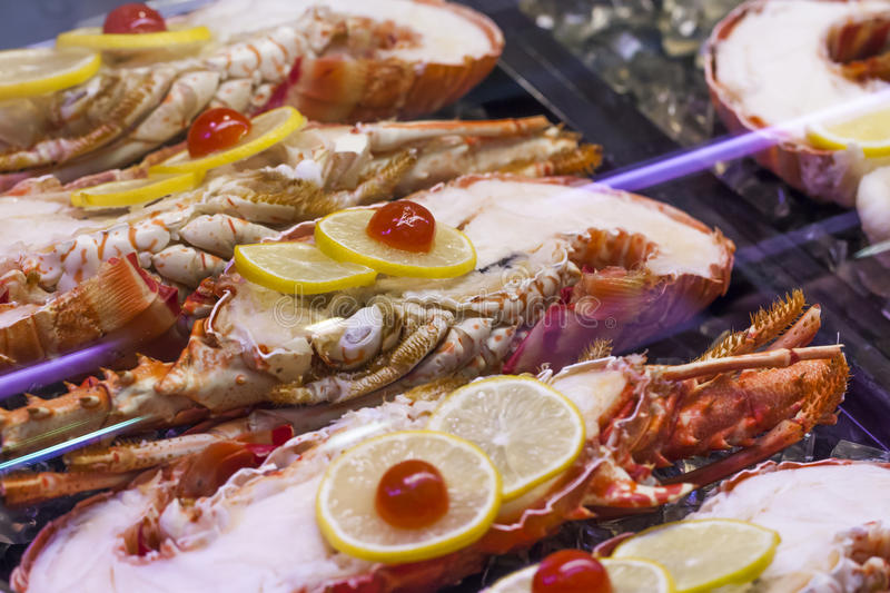Half lobsters in display at the caterer stock photo