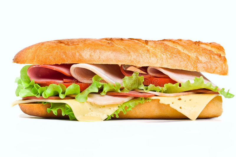 Half of long baguette sandwich royalty free stock photography