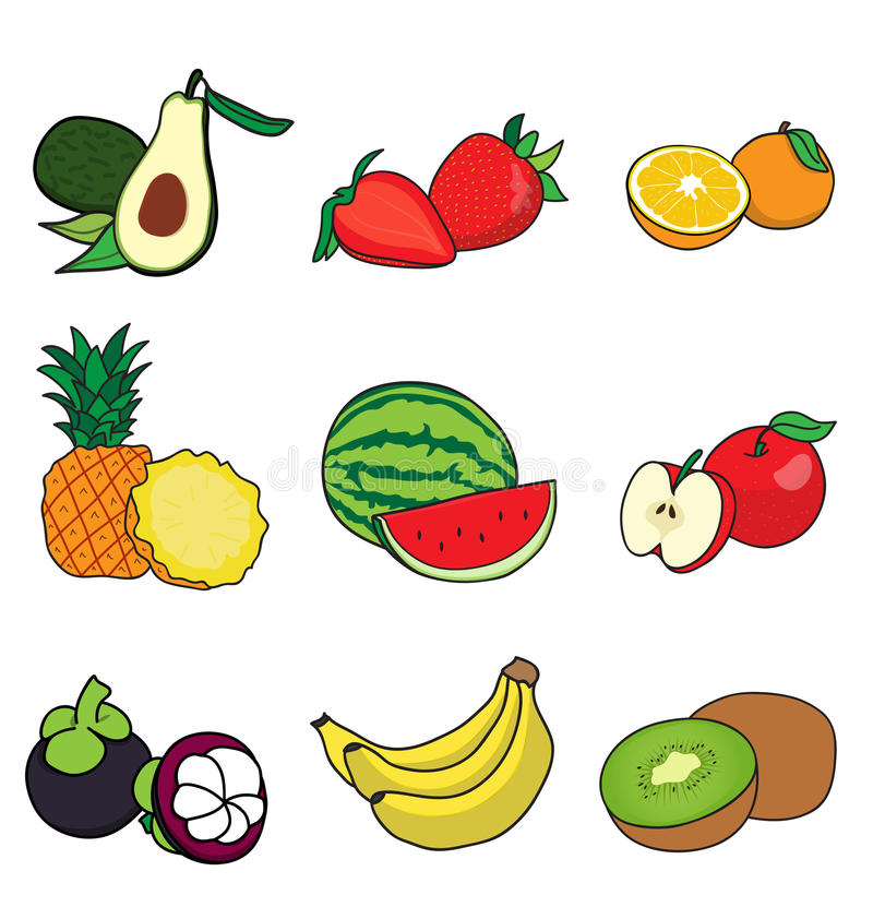 Half many fruits. Cut in half many fruit on white background vector illustration