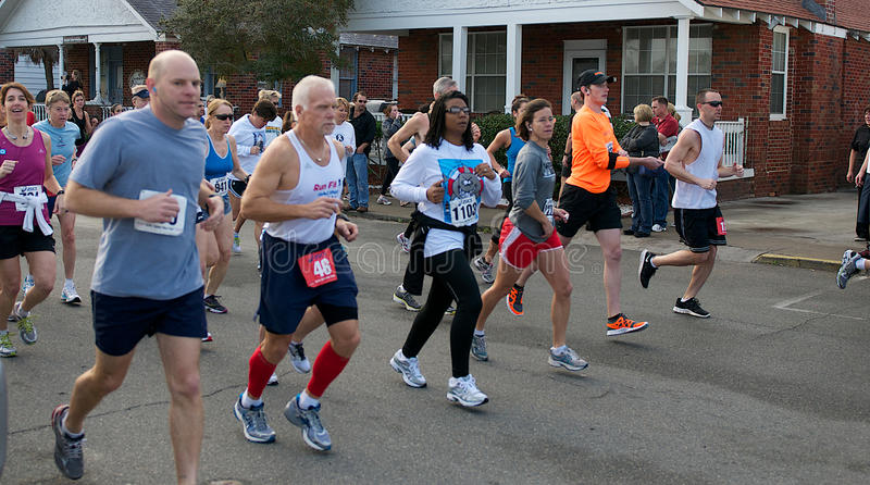 During a Half Marathon stock image