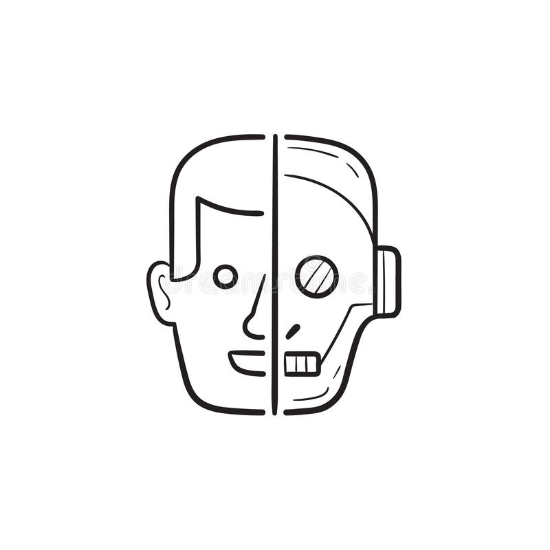Half menselijk half de krabbelpictogram van het robot hoofdhand getrokken overzicht vector illustratie