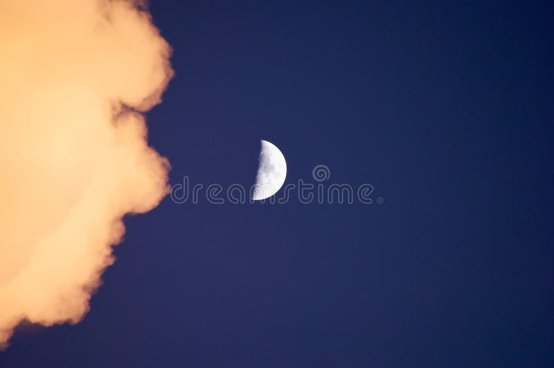 Half Moon With Cloud Stock Photo