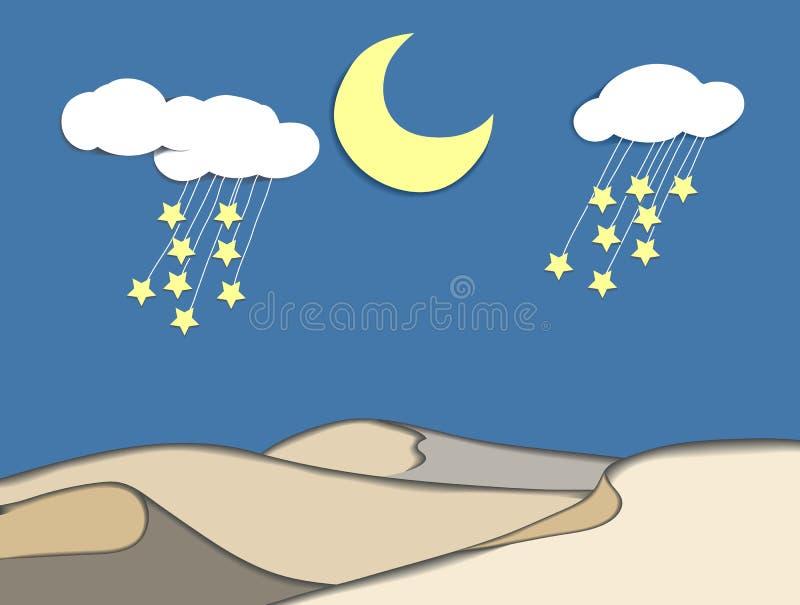 Half moon, cloud and stars over desert at night stock illustration