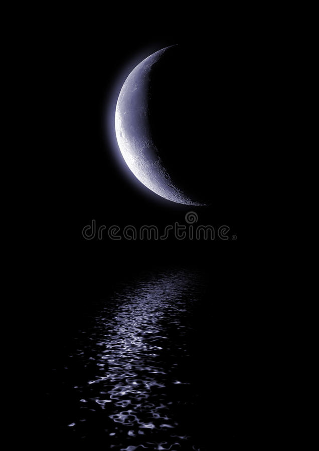 Half of moon in the dark blue sky royalty free stock photos