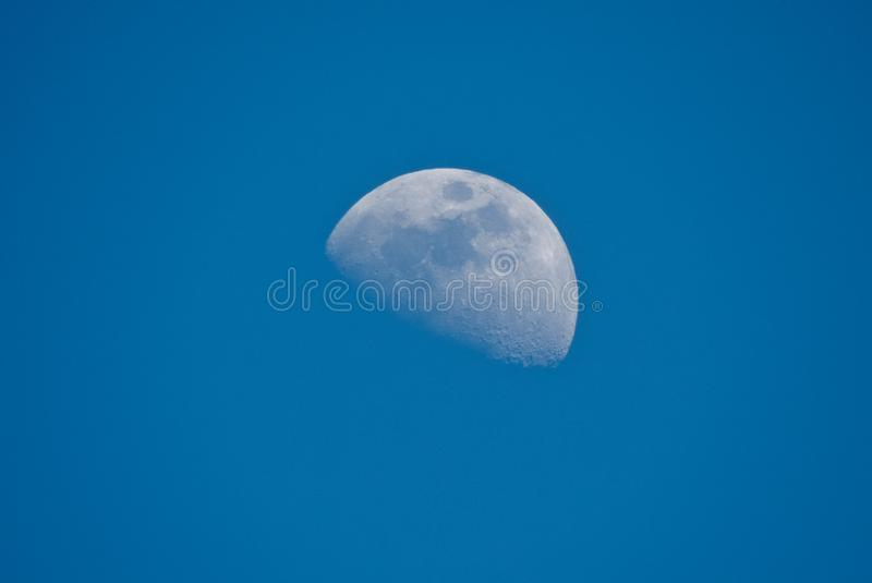Half moon in day time in beautiful blue sky, Indore-India. Half moon in day time in beautiful blue sky, with visible craters. Clicked from Indore-India royalty free stock photo