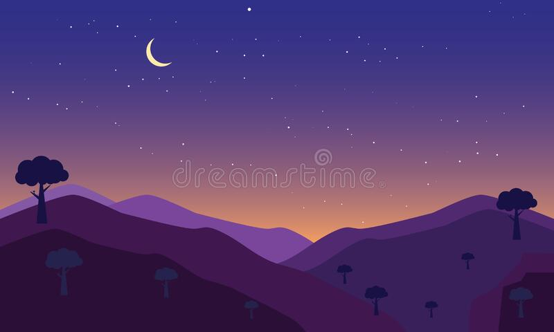 Half moon in the nigth. Nigth sky with stars and halfmoon background editable for your background design royalty free illustration