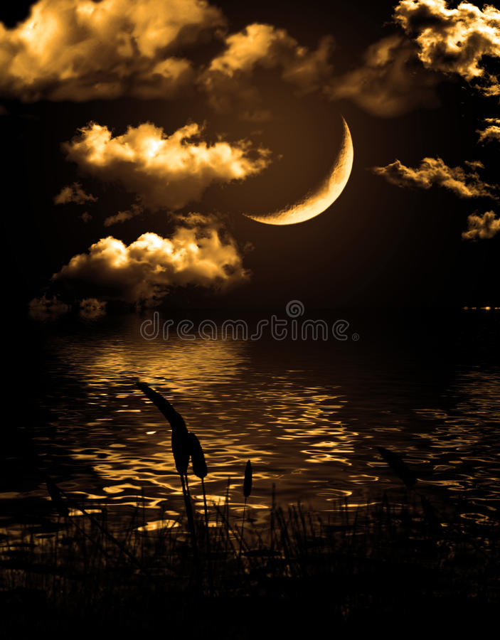 Half of moon reflected in water stock image