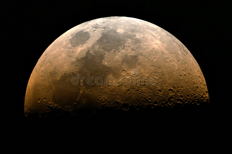 Half moon rising stock photography