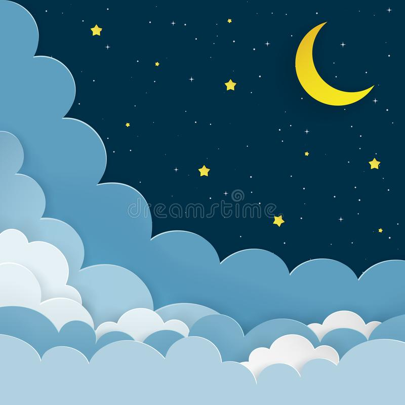 Half moon, stars, clouds on the dark night starry sky background. Galaxy background with crescent moon and stars. royalty free illustration