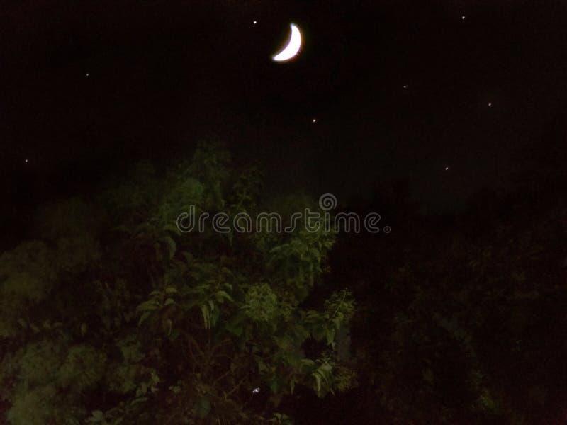 Half moon and the stars stock photo