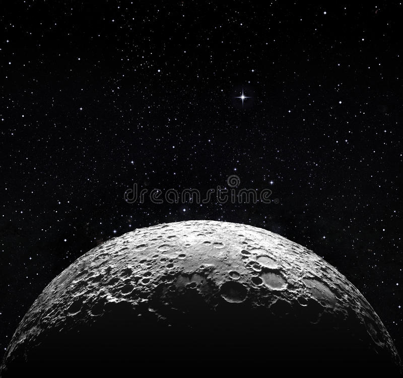 Free Half Moon Surface And Starry Space Stock Photo - 37674620