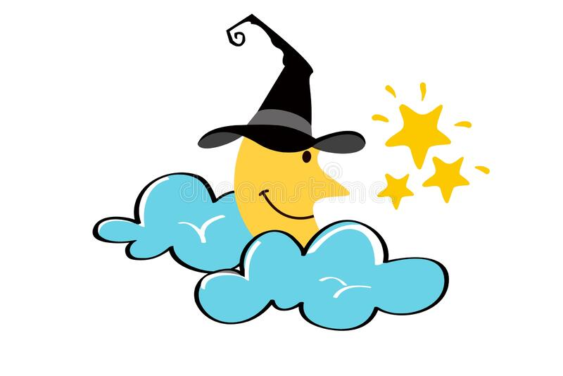Half moon in a witch hat and star with blue clouds on white background. royalty free illustration