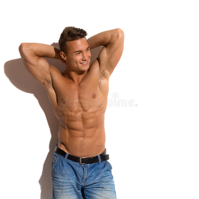 Half Naked Fit Man In Sunlight royalty free stock images