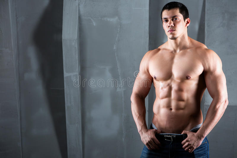 Half naked body of muscular athletic man. royalty free stock photo