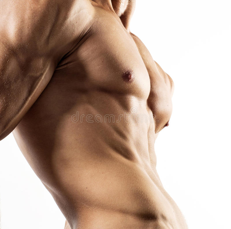 Half naked body of muscular athletic sportsman stock photo