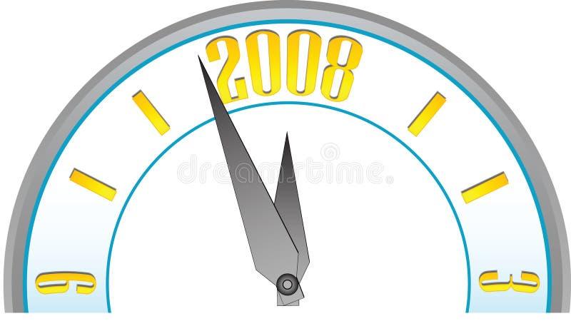 half nytt år för klockaframsida stock illustrationer