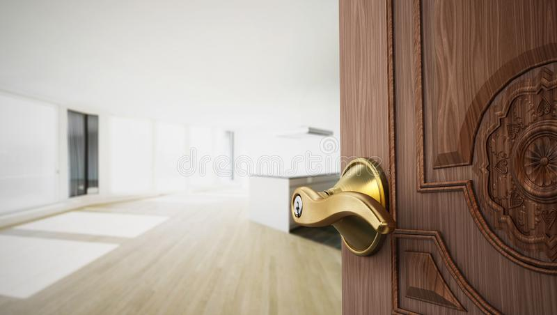 Half open apartment door opening to empty room. 3D illustration.  royalty free illustration