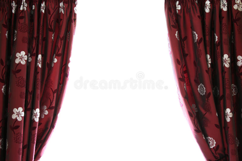 Half open curtains with white space stock photo